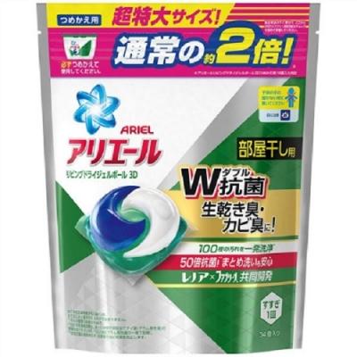 日本版P&G 2倍超強濃縮洗衣膠球 補充包(34顆入)-綠色消臭