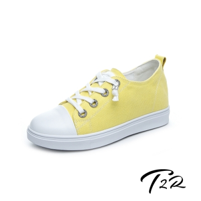 T2R-正韓空運-增高鞋真皮鞋帆布鞋小白鞋-增高6公分-帆布黃