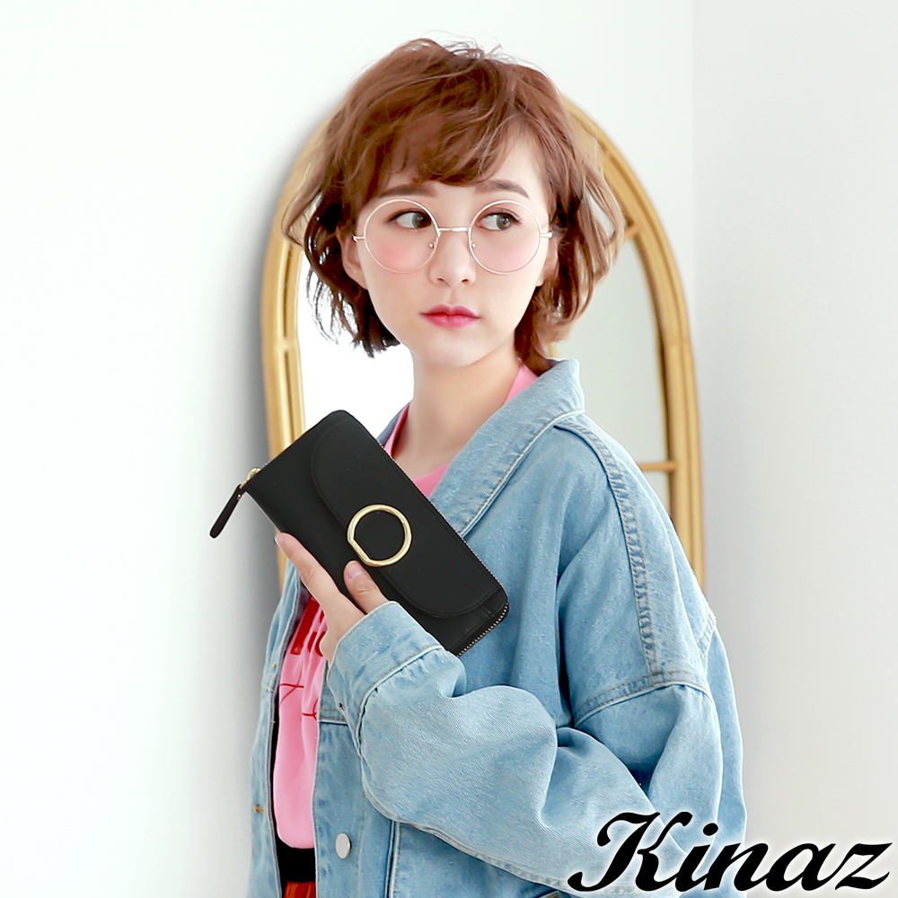 KINAZ  奧妙幻境ㄇ字型長夾-銀河黑-太空人系列
