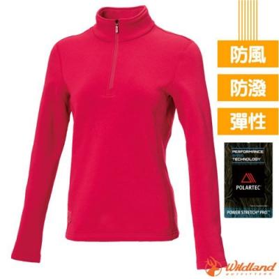 荒野 女 Polartec Pro 超強4向彈性控溫保暖排汗衣_玫瑰紅 V