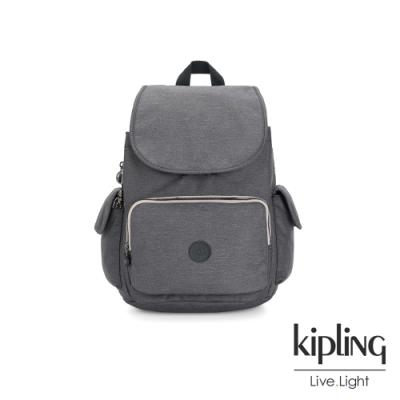 Kipling 沉穩丹寧灰拉鍊掀蓋後背包-CITY PACK