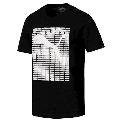 PUMA-男性基本系列PUMA重複短袖T恤-黑色-亞規