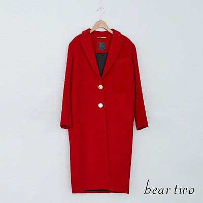 beartwo 質感翻領圓釦典雅大衣外套(紅色)