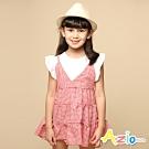 Azio Kids 女童 上衣 下擺澎澎假兩件格子荷葉袖吊帶長版上衣(紅)