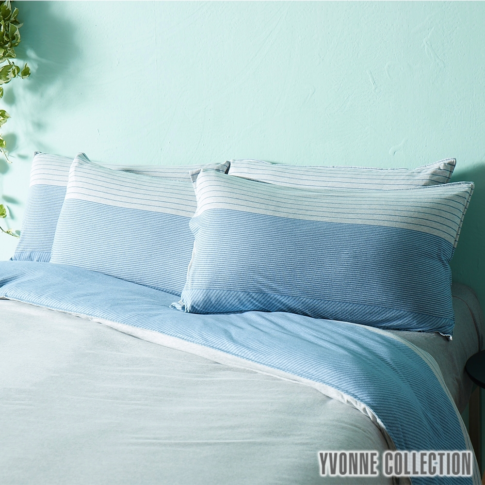 YVONNE COLLECTION 條紋枕套-淺灰/靛藍 (可搭配條紋系列)
