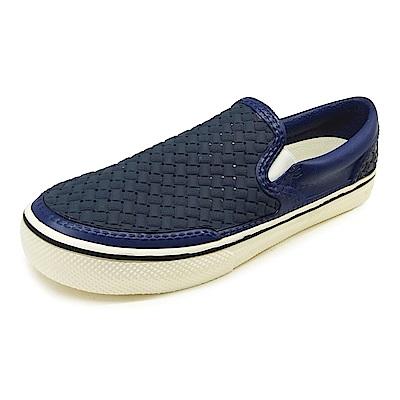 (男)Ponic&Co美國加州環保防水編織懶人鞋-深藍色