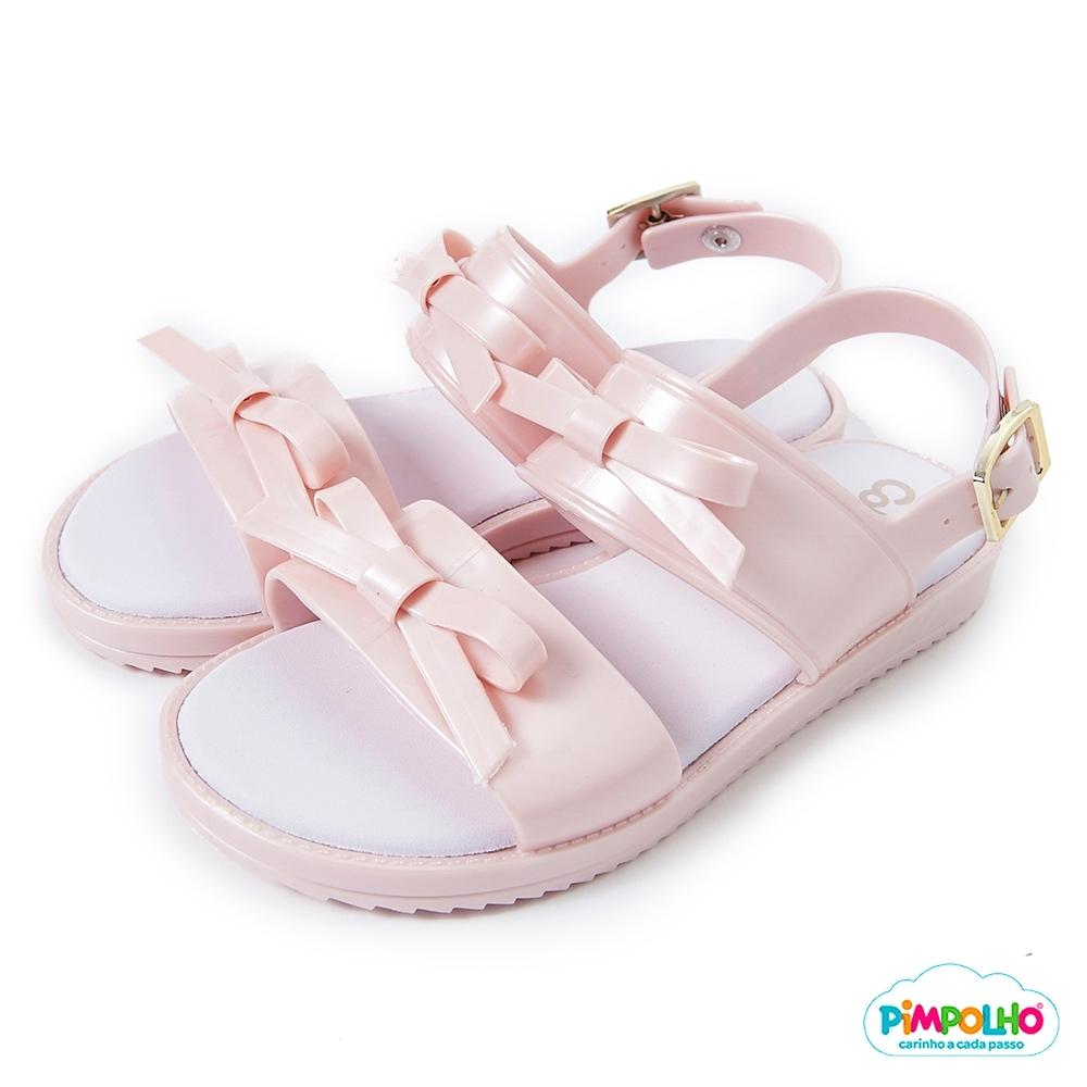 Pimpolho 可愛小蝴蝶繫休閒涼鞋-童-珠光粉