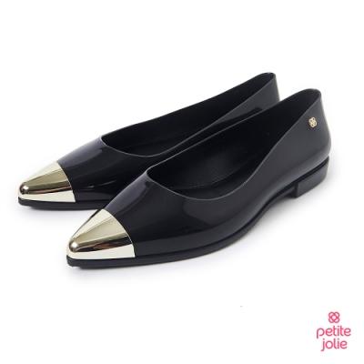 Petite Jolie--金屬配色尖頭果凍娃娃鞋-亮黑色