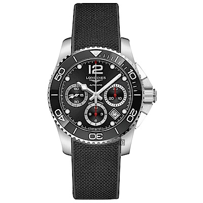 LONGINES 浪琴 深海征服者浪鬼陶瓷計時潛水機械錶-黑x41mm