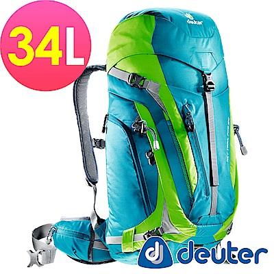 【ATUNAS 歐都納】德國DEUTER拔熱透氣背包34L-3441115藍綠/登山露營