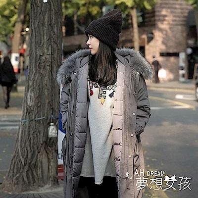 AH dream夢想女孩 韓版超長版奢華貉子毛領連帽軍裝外套大衣