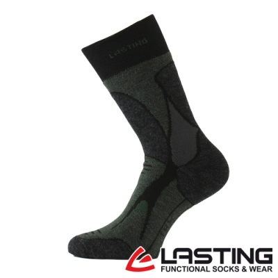 【LASTING捷克】男款美麗諾羊毛抗菌除臭吸濕排汗中筒保暖襪/厚襪LT-TRX黑