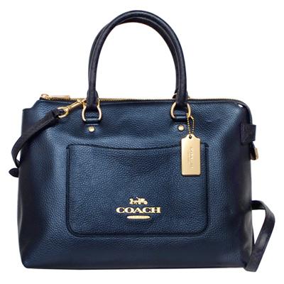 COACH EMMA星空藍全皮前口袋蛇紋飾邊手提/斜背托特包