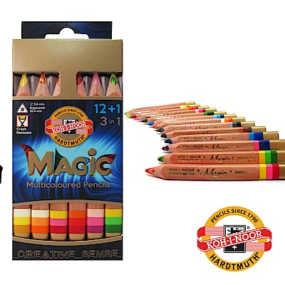 【KOH-I-NOOR】 12+1三角彩虹魔術色鉛筆組。附贈削筆器