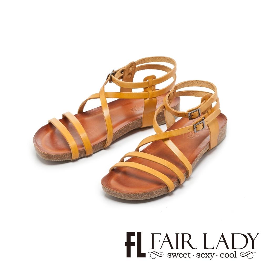 FAIR LADY PORRONET全真皮交叉繞帶繫踝涼鞋 土黃