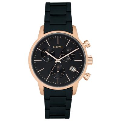LOVME 城市獵人不鏽鋼三眼時尚手錶-IP玫x黑x黑帶/43mm