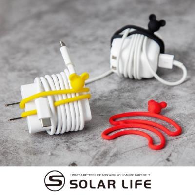 BONE 双環綁 Dual Cord Tie 捲線器電源線收納(一組3入) 米奇款.矽膠整線器 集線器收線器 束繩帶捆繩帶 充電線收納 萬用綁束帶