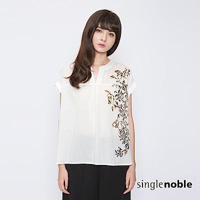 獨身貴族 高雅花藝燙金V領開襟襯衫(3色)