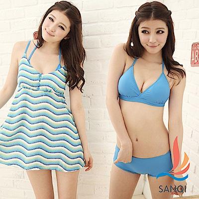 SANQI三奇 花漾甜心 三件式比基尼泳衣(藍L.XL)