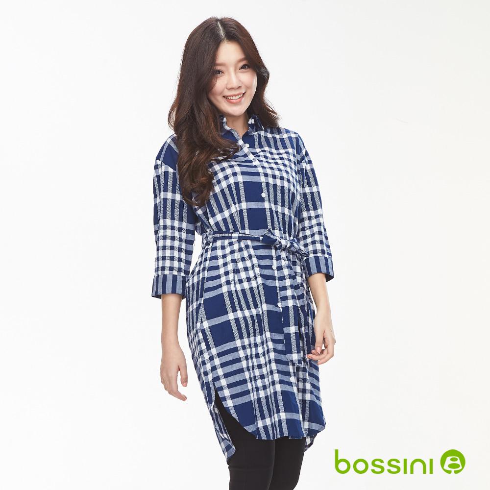 bossini女裝-格紋長版7分袖襯衫海軍藍