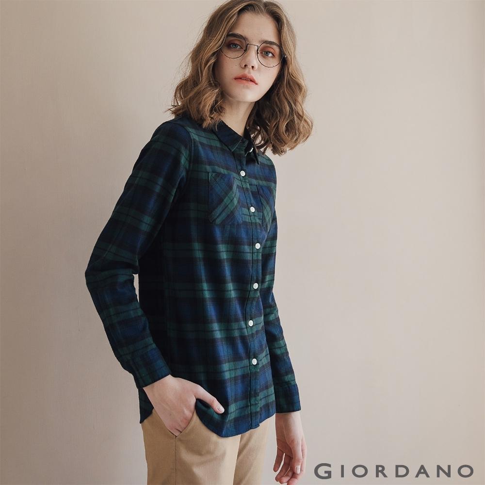 GIORDANO 女裝法蘭絨溫暖磨毛長袖襯衫-28 寶藍/綠格紋