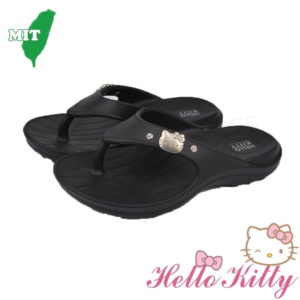HelloKitty童鞋女鞋 輕量柔軟減壓吸震夾腳拖鞋-黑