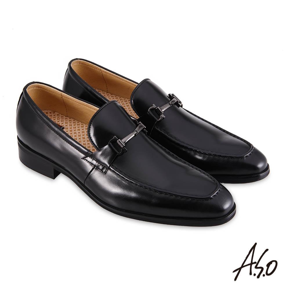A.S.O職場通勤 3D超動能刷色樂福紳士鞋-黑