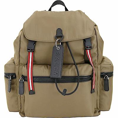 BALLY CREW 皮牌掛飾軍綠棕色尼龍後背包