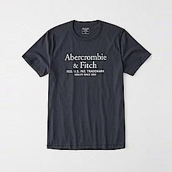 A&F 經典印刷文字設計短袖T恤-深藍色 AF Abercrombie
