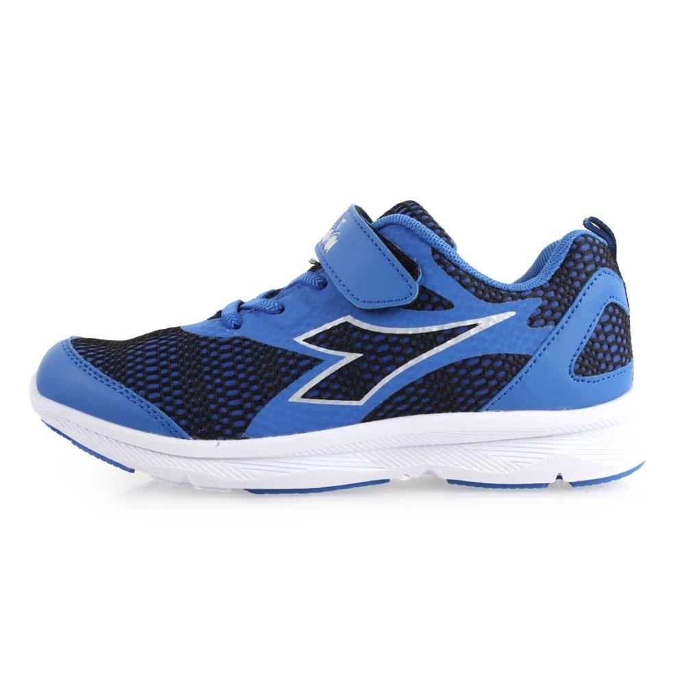 DIADORA 男女大童慢跑鞋-寬楦-路跑 訓練 魔鬼氈 藍黑銀