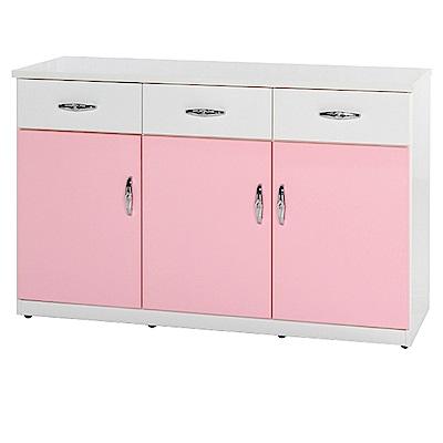 綠活居 阿爾斯環保4.1尺塑鋼三門三抽餐櫃(11色)-122.5x42x81cm免組