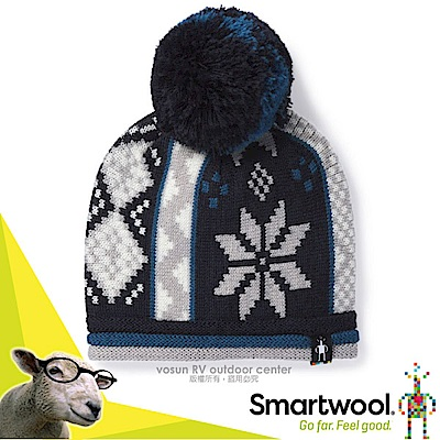 美國 SmartWool 兒童美麗諾羊毛冬日雪花毛帽_亮藍