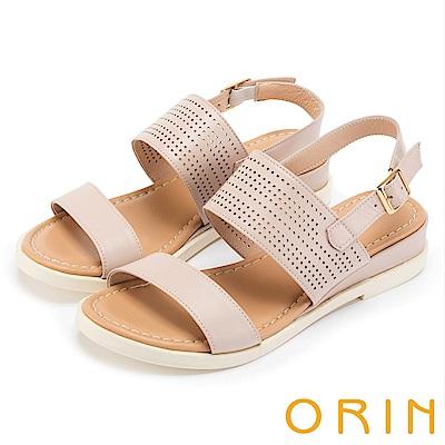 ORIN 夏日簡約時尚 趣味簍空牛皮厚底涼鞋-粉色