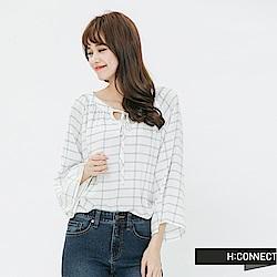 H:CONNECT 韓國品牌 女裝-甜美感綁結格子上衣-白