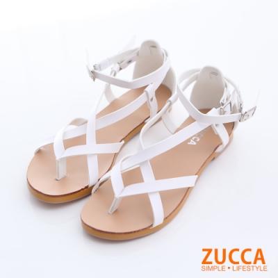 ZUCCA-羅馬紋交叉扣環涼鞋-白-z6328we