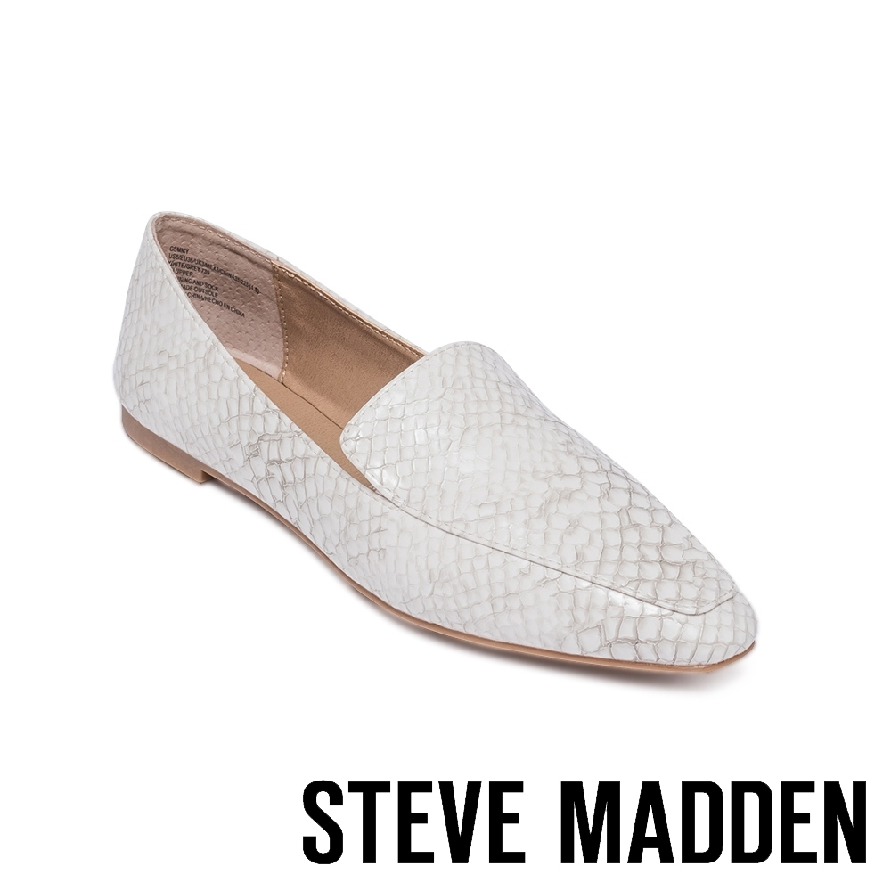 STEVE MADDEN-GEMMY 基本款素色平底女鞋-蛇皮白