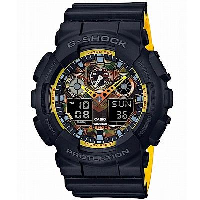 G-SHOCK 雙色配色融和迷彩設計休閒運動概念錶(GA- 100 BY- 1 A) 51 mm