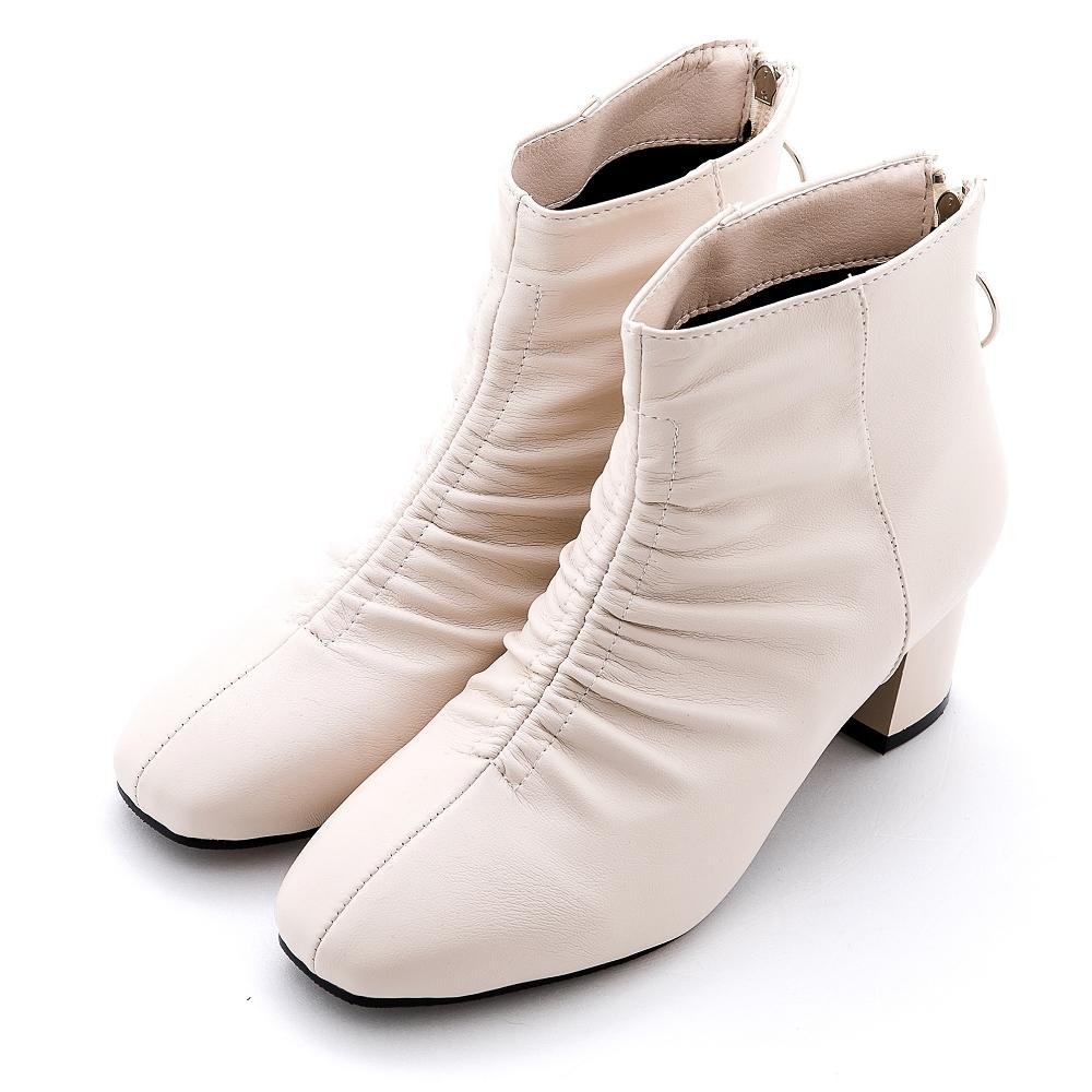 River&Moon韓系抓皺方頭後拉鍊中跟靴 米白