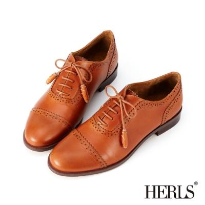 HERLS 英式日常 全真皮捲心鞋帶沖孔牛津鞋-棕色