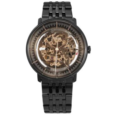 FOSSIL Chase 機械錶 自動上鍊 鏤空機芯 不鏽鋼手錶-玫瑰金x鍍黑/42mm