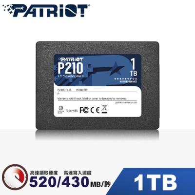 (6/20前再送3%超贈點)Patriot美商博帝 P210 1TB 2.5吋 SSD固態硬碟