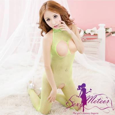網衣 全尺碼 蕾絲圍脖網洞開襠連身性感睡衣網衣洞洞裝(螢光綠) Sexy Meteor