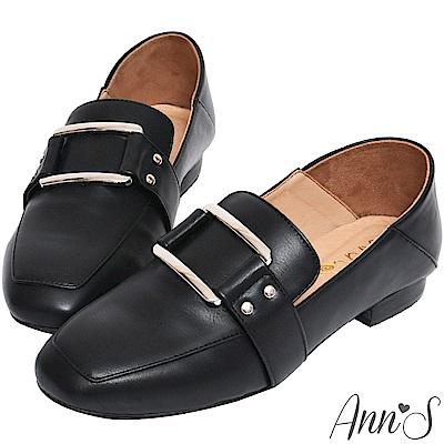 Ann'S適度文青-不破內裡金色方扣皮革兩穿紳士穆勒鞋-黑