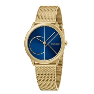 CALVIN KLEIN minimal 系列簡約腕錶-金色藍面/35mm