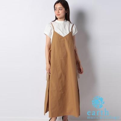 earth music 【SET ITEM】側綁結細肩帶洋裝+素面短袖連身洋裝