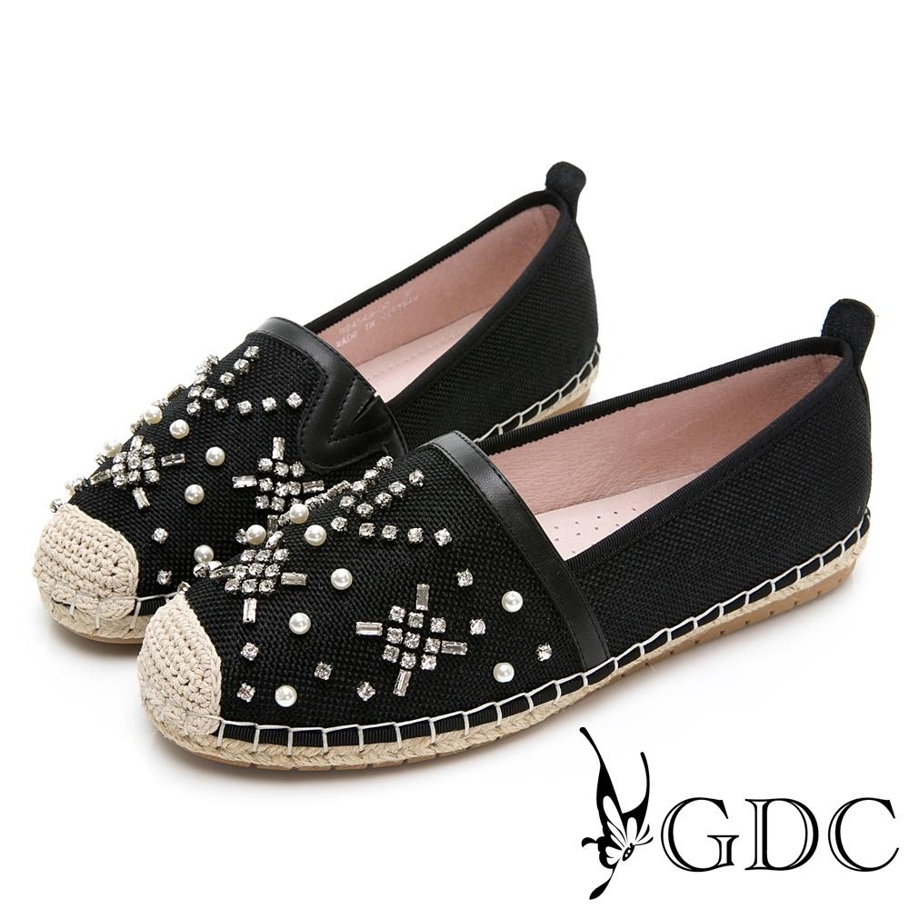GDC-小香風珍珠草編水鑽春夏漁夫鞋-黑色