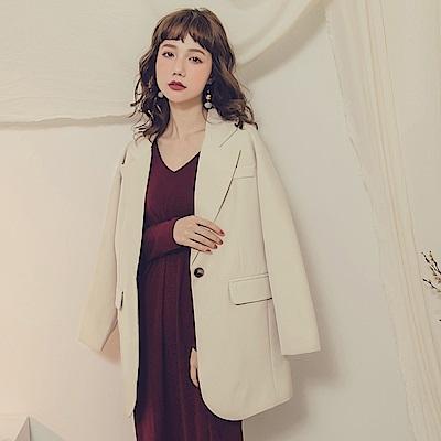 純色翻領西裝外套-OB大尺碼