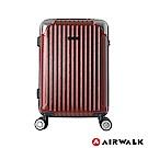 AIRWALK- 都市行旅20吋特光立體拉絲金屬護角輕質拉鍊行李箱 - 光采紅