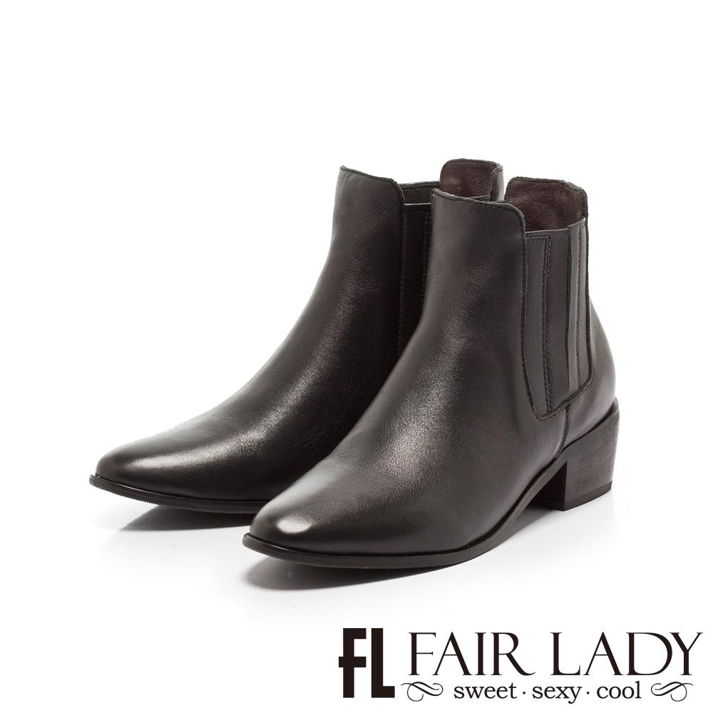 FAIR LADY 全真皮縫線拼接切爾西粗跟短靴 黑