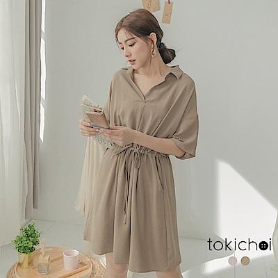 東京著衣 知性質感腰綁帶V字立領洋裝-S.M.L(共兩色)